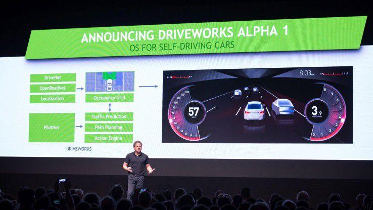 Mit Nvidia Driveworks wird mithilfe verschiedener Komponenten eine virtuelle Karte erstellt, in der das autonome Fahrzeug seinen Weg erkennt.