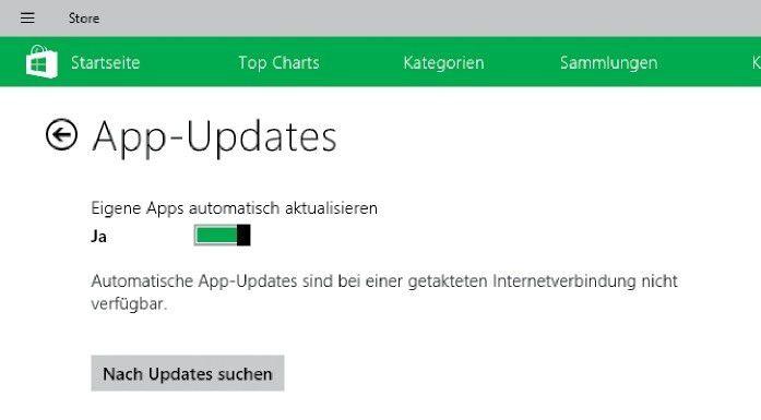 Der Windows Store kann App-Updates bei ihrer Verfügbarkeit automatisch installieren, sofern Sie die entsprechende Funktion einschalten.