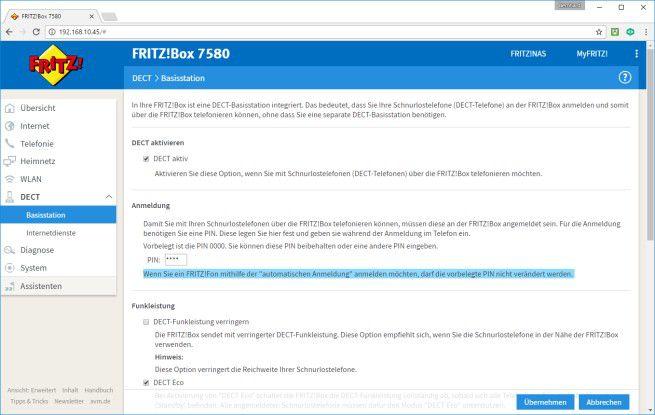 Funktion aktivieren: In diesem Menü muss der Anwender die DECT-Funktion der Fritz!Box freischalten.