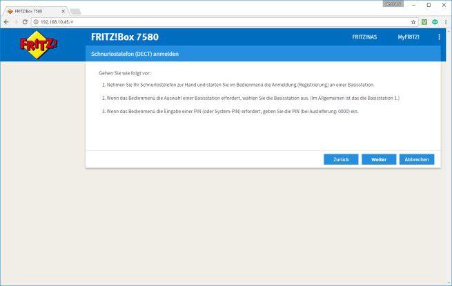 Schritt für Schritt: Die FrizBox führt den Anwender detailliert durch die Anmeldeprozedur von DECT-Schnurlostelefonen.