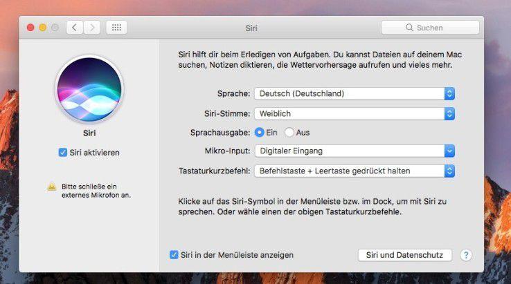 Siri lässt sich in macOS Sierra aktivieren oder deaktivieren.