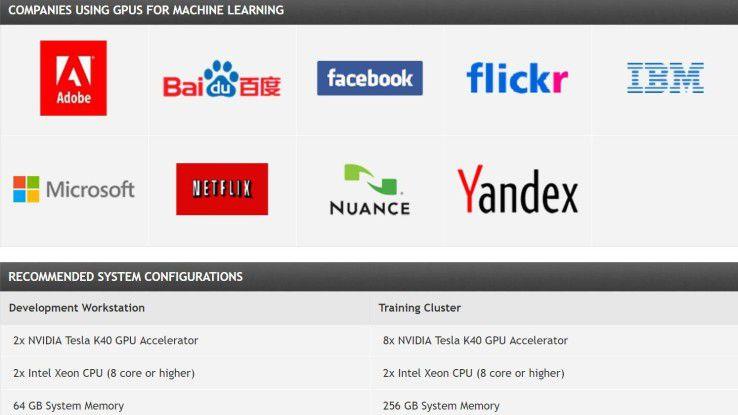 Die führenden Companies im Machine Learning nutzen für die parallele Verarbeitung der Daten Grafikprozessoren (GPUs) - etwa von Nvidia.
