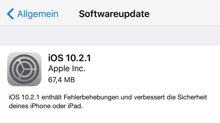 Trotz gestopfter Sicherheitslücken mit Vorsicht zu genießen bzw. zu installieren: iOS 10.2.1