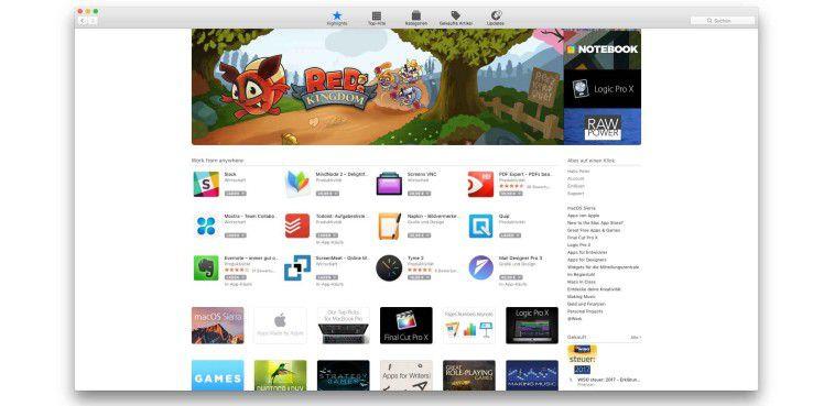 Quelle für kostenlose Software: Mac App Store
