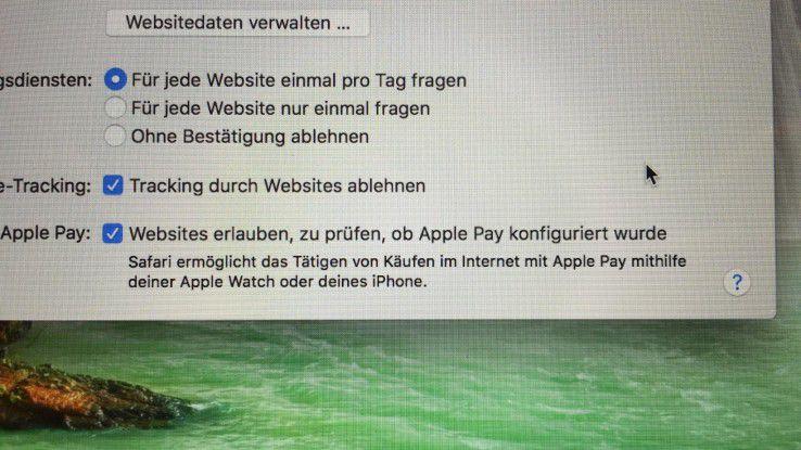 In der neuesten Version von macOS Safari kann man ein Kästchen zu Apple Pay aktivieren.