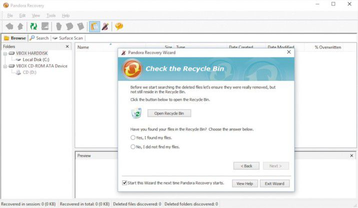 Pandora Recovery sucht und findet in vielen Fällen die gelöschten Dateien.