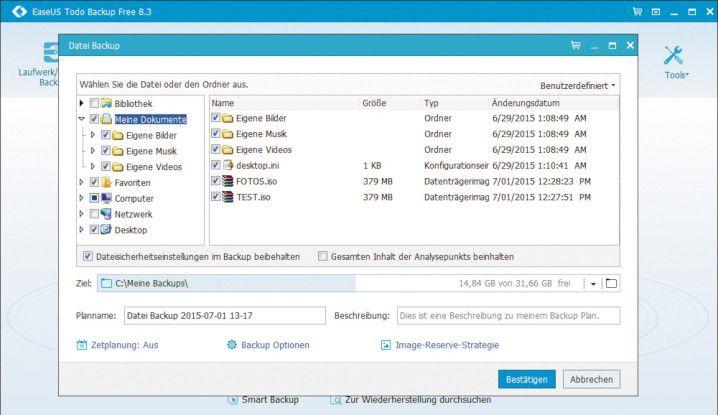 Easeus Todo Backup Home Free ist eine umfangreiche Backup-Software mit vielen zusätzlichen Funktionen.