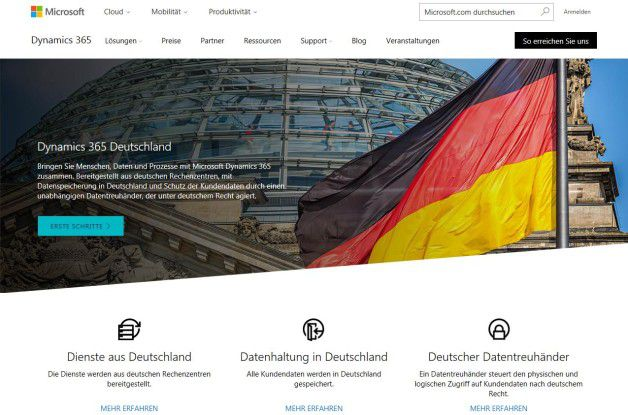 Dynamics 365 kommt jetzt auch aus der deutschen Microsoft-Cloud.