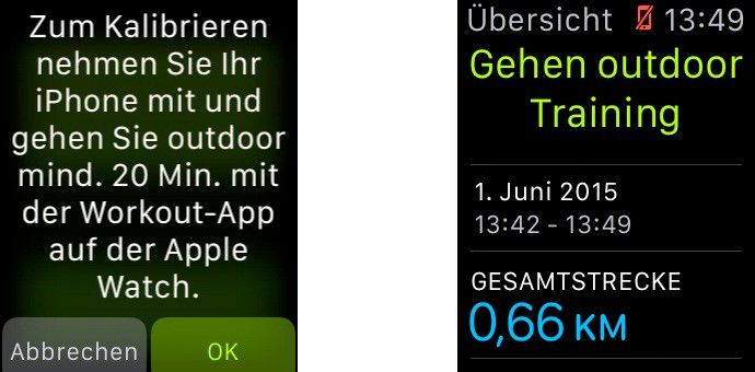 Ist der Schrittzähler mit dem iPhone kalibriert, berechnet er später allein die Strecke.