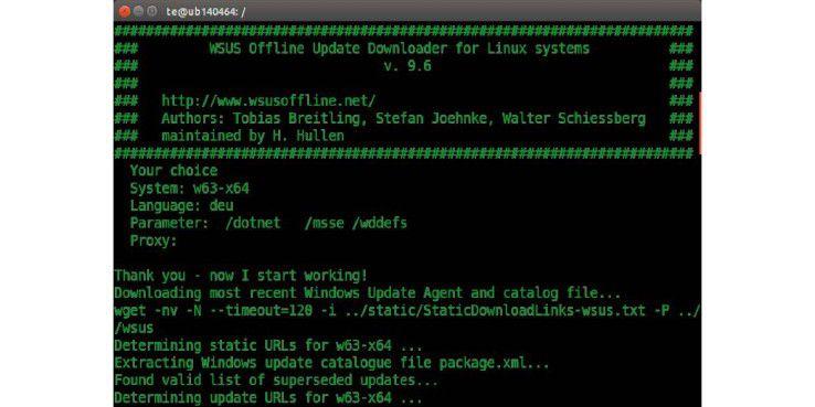 """Update-Downloader: Das Script """"DownloadUpdates.sh"""" lädt die Windows-Updates herunter. System, Sprache und Optionen lassen sich über Parameter festlegen."""