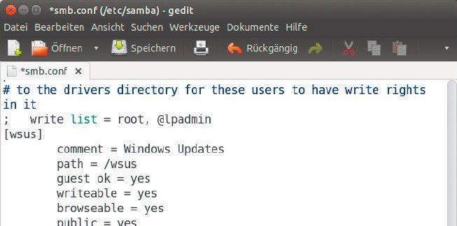 """Ordner freigeben: In der Datei """"/etc/samba/conf"""" legen Sie die Optionen für die Freigabe fest, über die das Windows-Update erfolgen soll."""