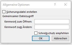 Über die Befehlsfolge Speichern unter/Tools/Allgemeine Optionen erreichen Sie ein Fenster, in das Sie im Feld Kennwort zum Öffnen ein Passwort vergeben.