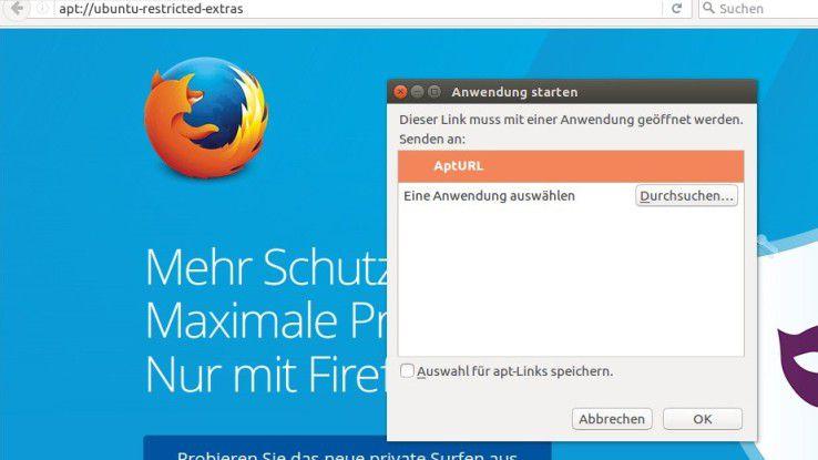 Über eine URL mit apt:// beginnend können Sie Ubuntu sagen, dass Sie etwas installieren möchten. In diesem Fall Codecs.