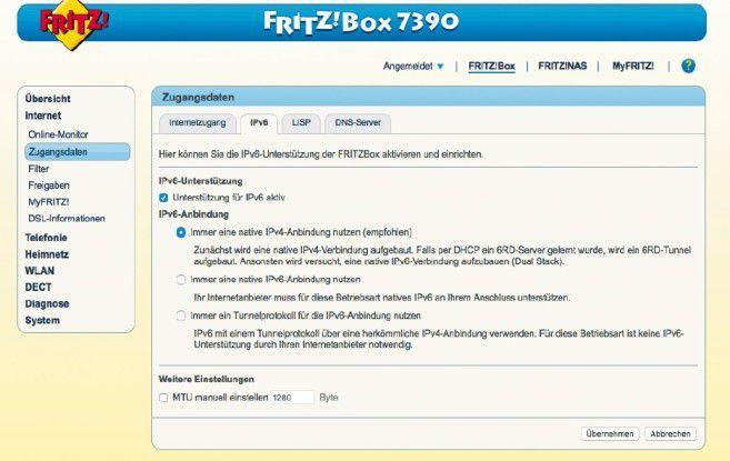 IPv6: Bei der Fritzbox beispielsweise aktivieren Sie die grundlegende Unterstützung für den neuen Internetprotokoll-Standard im Konfigurationsmenü des Routers.