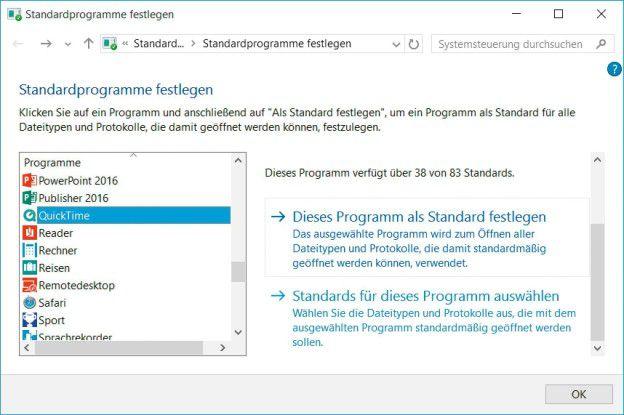 Standardprogramme definieren