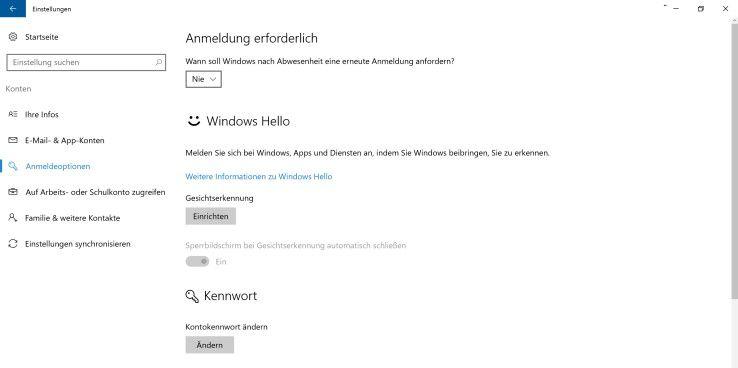 Die Windows-10-Passworteingabe nach Ruhezustand deaktivieren Sie in den System-Einstellungen