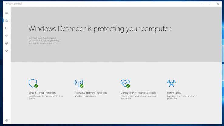 Blick auf den neuen Windows Defender, der mit Windows 10 Creators Update erscheinen wird.