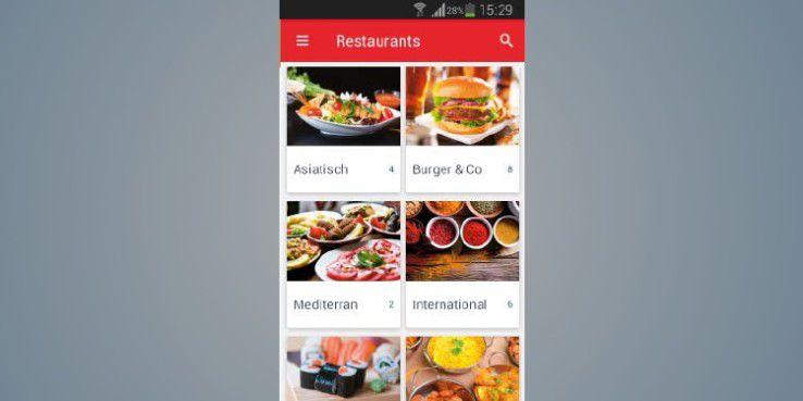 Lieferheld - Pizza Pasta Sushi präsentiert verschiedenen Küchen und Restaurants mit ansprechenden HD-Fotos