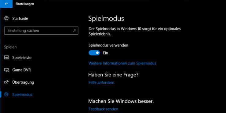 Hier kann in Windows 10 Creators Update der neue Spielemodus aktiviert werden