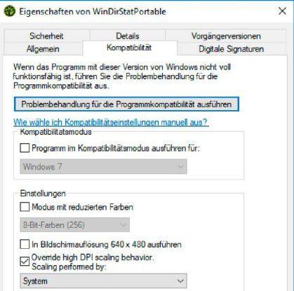 """Scharfe Anwendungen: Wenn Programme auf hochauflösenden Monitoren verwaschen erscheinen, können Sie in den """"Eigenschaften"""" die Skalierung anpassen und damit die Darstellung verbessern."""