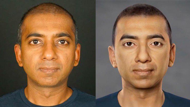 ObEN-CEO Nikhil Jain (li.) und sein virtueller Zwilling. Sieht so die KI-Zukunft aus?