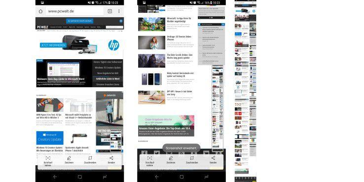 Samsung Galaxy S8: Scroll-Screenshot