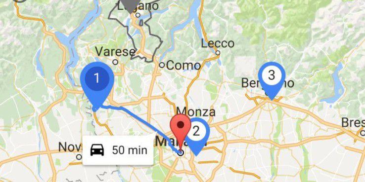Google Flights: Günstigere Flüge finden? So geht's. Hier der Flughafenüberblick auf einer Karte.