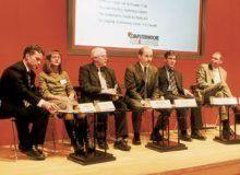 An derCeBIT-Diskussionsrunde nahmen teil: Tim Ackermann, Dagmar Schimansky-Geier, Wilfried Hölzer, Hans Königes, Thomas Michel und Thorsten Körting (von links nach rechts).