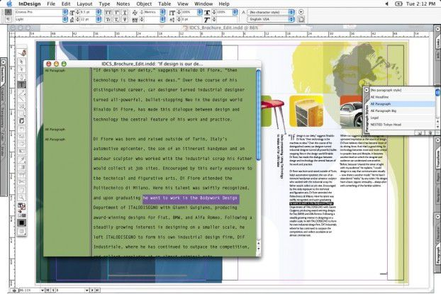 Der neue in Indesign integrierte Texteditor in Aktion.