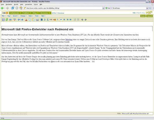 Eine aus unserem nicht untrivialen Redaktionssystem ausgecheckte RTF-Datei liest Writely ohne Murren ein.