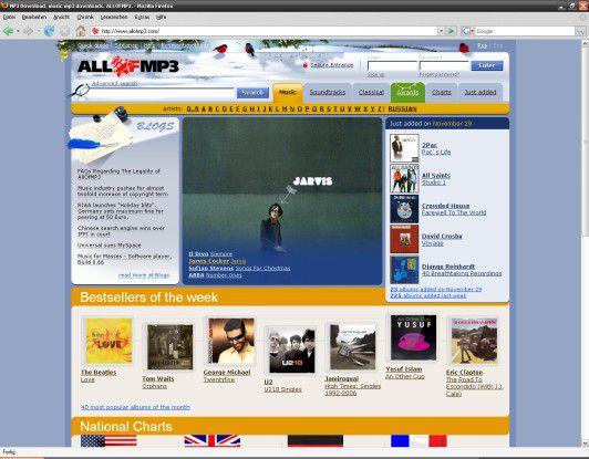 Noch in voller Pracht am Netz: Das umstrittene Musikportal AllOfMP3.com.