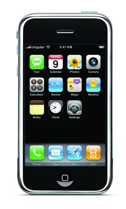 """Das ist der Startbildschirm des tastenlosen Apple-Smartphones """"iPhone""""."""