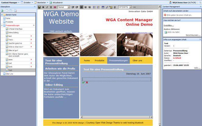 Webgate Anywhere erlaubt das Editieren und Verwalten von Artikeln im Kontext der Website und bedarf dazu keiner separaten Oberfläche.