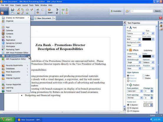 Die in Lotus Notes 8 eingebetteten Productivity Tools beruhen auf einer alten Version von OpenOffice.