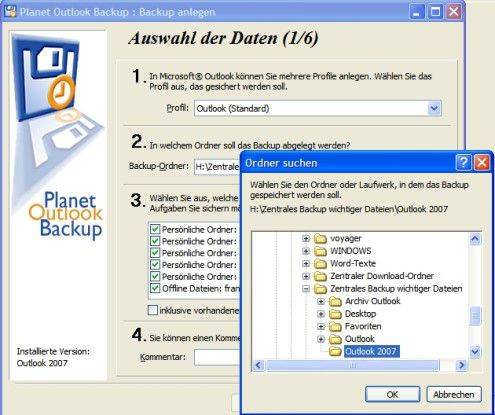 Planet Outlook Backup sichert PST-Dateien und Einstellungen von Outlook auf beliebigen Verzeichnissen.