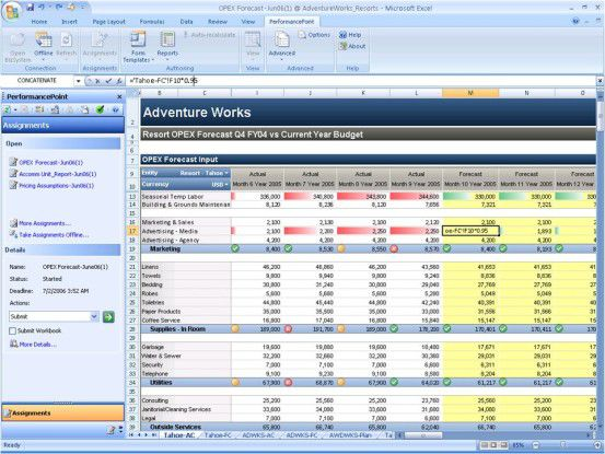 Durch ein neues Add-in macht PerformancePoint Server 2007 Excel zu einer integrierten und umfangreichen Planungsumgebung.