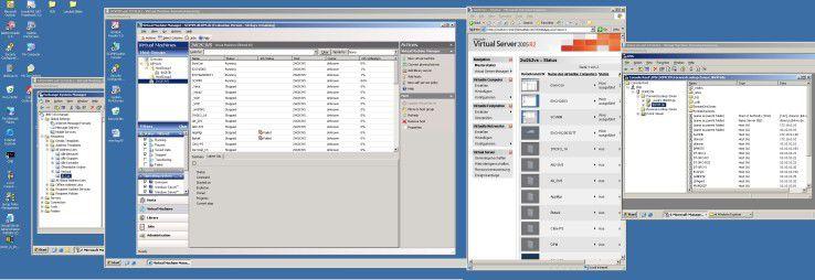 Über Virtualisierung konsolidierte Rechnersysteme lassen sich auf einer Konsole darstellen. Ein großer Bildschirm ist dabei sicher hilfreich. Das Bild zeigt links das Host-Betriebssystem und daneben einen Ausschnitt einer virtuellen Maschine mit Exchange 2003. In der Mitte befindet sich die Verwaltungskonsole des Virtual Machine Manager. Er ist ebenso Gast des Host-Betriebssystems. Rechts davon die traditionelle Konsole des Virtual Server 2005 R2. Ganz rechts schließlich eine weitere virtuelle Maschine mit der Funktion des Domänen-Controllers.