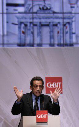 Nicolas Sarkozy bei der Eröffnung der CeBIT 2008