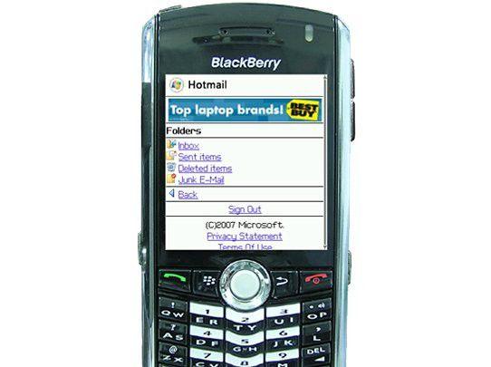 Mobile Werbebanner am Beispiel von Windows Live Hotmail.