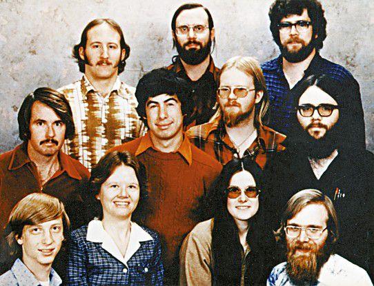 Gründerzeit bei Microsoft: Links unten Bill Gates, rechts unten Paul Allen, Freund aus der Schule.