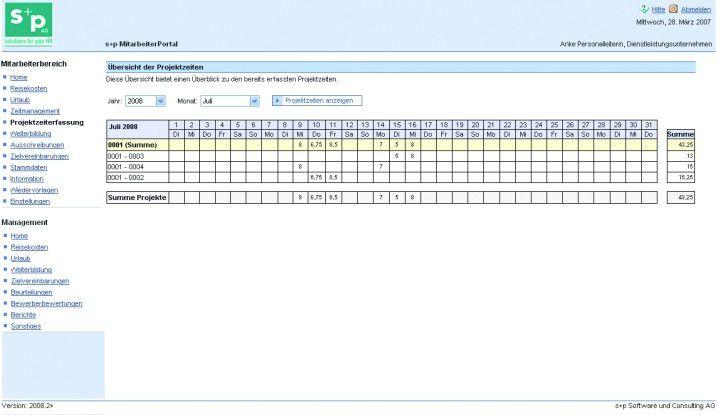 Über ein Web-Frontend gibt der Projektmitarbeiter seine Arbeitszeiten ein. Gleichzeitig kann er eine Tätigkeitshistorie abrufen.