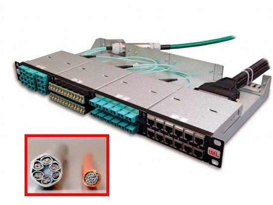 Mit dem System TDE Modular Link sollen sich Rechenzentren schnell, ressourcenschonend und energiearm verkabeln lassen. Rechts im Detailbild ein TDE-Kabel, links ein Standartkabel.