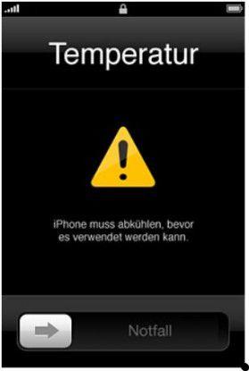 Auf seinen Support-Seiten räumt Apple selbst ein, dass das iPhone im Sommer ab 35 Grad den Dienst verweigert, weil es ihm zu heiß ist. (Quelle: Apple)