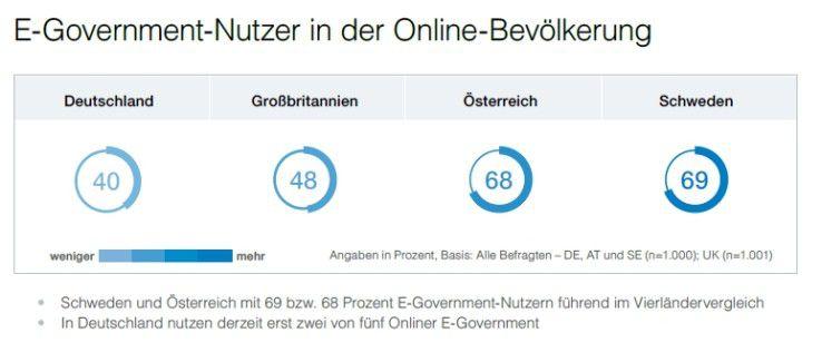 Wie viele Bürger nutzen E-Government in den vier Ländern?