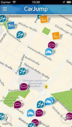 CarJump zeigt jetzt sämtliche Autos der Anbieter auf einer Karte.