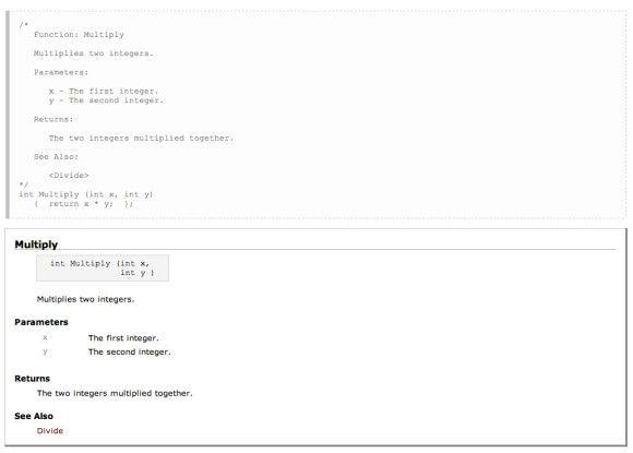 Aus Codekommentaren, die mit einer einfachen Syntax geschrieben werden, generiert NaturalDocs automatisch die Softwaredokumentation im HTML-Format.