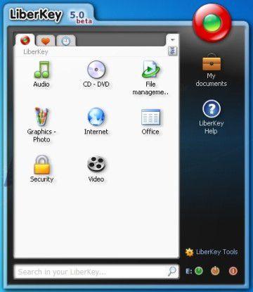 Darstellung der mit LiberKey geladenen und portablen Applikationen.